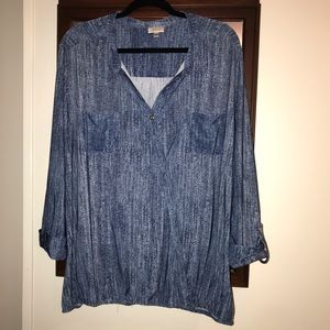 Avenue Denim Look Blue Top with roll up sleeves